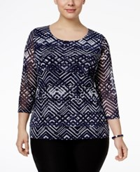Alfani Plus Size Tiered Printed Mesh Top Only At Macy's Chevron Layers Navy
