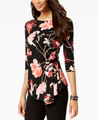 Alfani Printed Side Tie Top Created For Macy's Black Glass Garden
