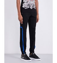 Philipp Plein Mesh Tapered Jogging Bottoms Black Blue Cobalt
