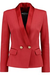 Balmain Silk Trimmed Satin Crepe Blazer Red