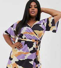 Pink Clove Wrap Front Dress With Tie Waist And Flutter Sleeve In Abstract Print Multi