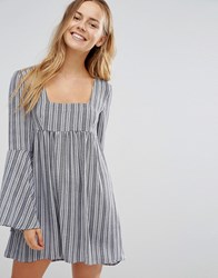 Unique 21 Bell Sleeve Striped Dress Blue And White Multi