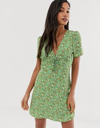 Fashion Union Tie Front Mini Dress In Ditsy Floral Green