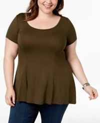 Celebrity Pink Trendy Plus Size Swing T Shirt Olive