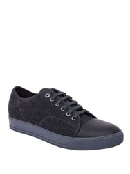 Lanvin Felt Lace Up Sneakers Burgundy Anthracite