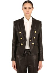 Veronica Beard Cooke Double Breasted Leather Blazer Black
