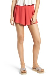 Lush Pleat Front High Waist Shorts Coral