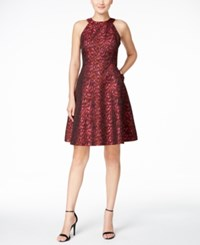 Calvin Klein Printed Fit And Flare Party Dress Red Sparkle