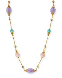 24K Gold Plated Pastel Station Necklace Multi Colors Jose And Maria Barrera