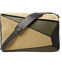 Loewe Puzzle Suede And Leather Bag Green