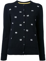 Muveil Eye Print Cardigan Black