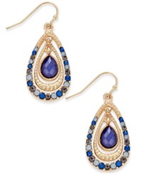 Inc International Concepts Gold Tone Blue Crystal Nested Teardrop Earrings Only At Macy's