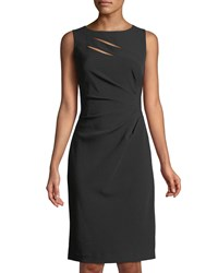 Tahari By Arthur S. Levine Side Ruched Cutout Sheath Dress Black