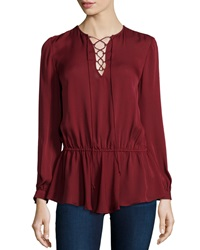 Rebecca Minkoff North Lace Up Long Sleeve Top Wine