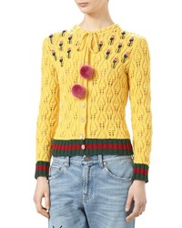 Gucci Merino Crewneck Cardigan With Knit Web Trim Tulip Yellow
