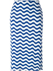 Au Jour Le Jour Wave Print Straight Skirt Blue