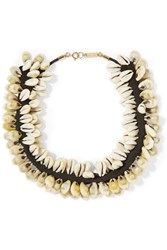Isabel Marant Shell And Suede Necklace White