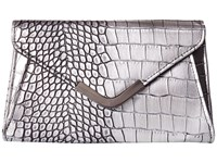 Jessica Mcclintock Lily Croco Small Envelope Clutch Pewter Cross Body Handbags