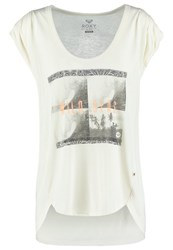 Roxy Barrel Print Tshirt Pristine Off White