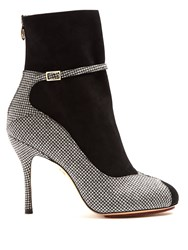 Charlotte Olympia Incognito Hound's Tooth Suede And Wool Boots Black Multi