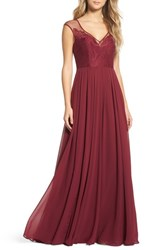 Hayley Paige Occasions 'S Mixed Media A Line Gown Burgundy