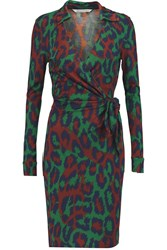 Diane Von Furstenberg Savannah Leopard Print Silk Jersey Wrap Dress Green