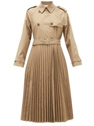 Red Valentino Redvalentino Pleated Technical Canvas Trench Coat Beige