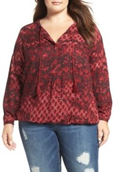 Lucky Brand Floral Peasant Blouse Plus Size Red