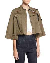 Cinq A Sept Willow Embroidered Cape Jacket Olive