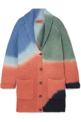 Missoni Color Block Ribbed Alpaca Blend Cardigan Orange