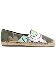 Marc Jacobs Sienna Flat Espadrilles Women Cotton Raffia Leather Rubber 41 Green