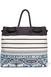 Emilio Pucci Leather Trimmed Printed Canvas Tote Blue