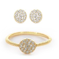 Earthy Chic Boutique Classic Pave Disk Ring And Earring Set 14K Yellow Gold Plated