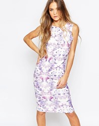 Daisy Street Midi Dress In Mirror Print Lilac