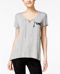 Rebellious One Juniors' Graphic Lace Up T Shirt Heather Grey