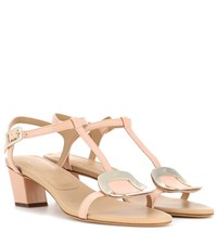Roger Vivier Chips Leather Sandals Beige
