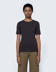 Lauren Manoogian Cashmere Rib Tee In Charcoal Dark Charcoal