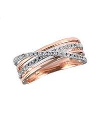 Effy Pave Rose 14 Kt Rose Gold Layered Diamond Band
