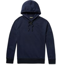 Berluti Nubuck Trimmed Loopback Cotton And Cashmere Blend Jersey Hoodie Midnight Blue