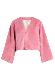 Natasha Zinko Bird Intarsia Cropped Fur Jacket Pink Multi