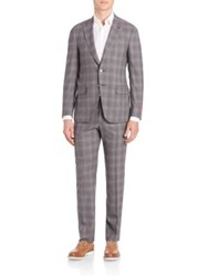 Isaia Plaid Two Button Wool Suit Dark Grey
