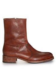 Maison Martin Margiela Replica Tarnished Toe Cap Boots Brown