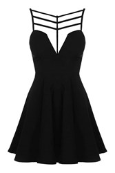 Strappy Cut Out Skater Dress By Rare Black