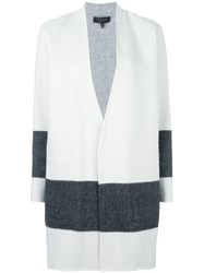 Rag And Bone Striped Detailing Open Coat White