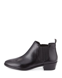 Shaw Flat Leather Bootie Black Michael Michael Kors