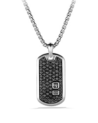 David Yurman Tag Necklace Pave Black Diamonds Silver Black