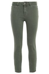 Dl1961 Woman Frayed Mid Rise Skinny Jeans Army Green