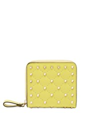 Valentino Rockstud Spike Quilted Leather Wallet Yellow