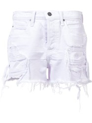 Alexander Wang T By Distressed Denim Shorts White