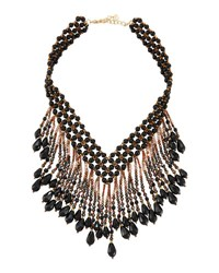 Nakamol Beaded Statement Fringe Necklace Black